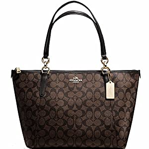 Coach Signature Monogram Shoulder Bag in Brown/Black with Luxury Leather Shoulder straps.