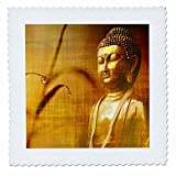 3dRose Sven Herkenrath Buddha - Golden Buddha with Asia Bamboo Zen Yoga Faith Religion - 18x18 inch quilt square (qs_266209_7)