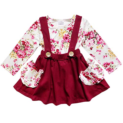 (So Sydney Suspender Skirt 2 Piece Outfit, Girls Toddler Fall Holiday Dress Up Boutique Outfit (L (5), Fall Floral))