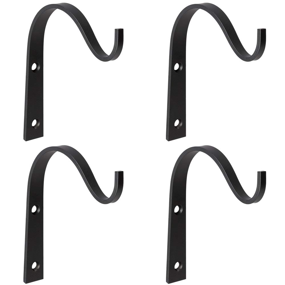 Mkono 4 Pack Iron Wall Hooks Metal Decorative Heavy Duty Hangers for Hanging Lantern Planter Bird Feeders Coat Indoor Outdoor Rustic Home Decor, Screws Included