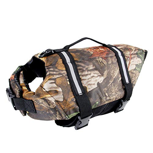 Camo Pet Life Preserver Jacket,Camouflage Dog Life Vest with Adjustable Buckles,Dog Safety Life Coat for Swimming, Boating, Hunting | (XS, S, M, L, XL) ...