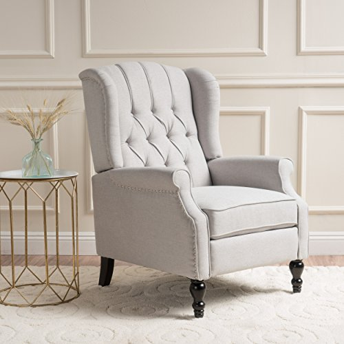 GDF Studio Elizabeth Tufted Fabric Recliner, Vintage Reclining Reading Armchair, Light Beige
