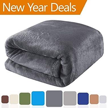 Balichun 330GSM Fleece Lightweight King Bed Blanket - Dark Grey