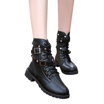 2f143fe34f601 Amazon.com | Kinghard Women Motorcycle Boots Ladies Soft Flat Ankle ...