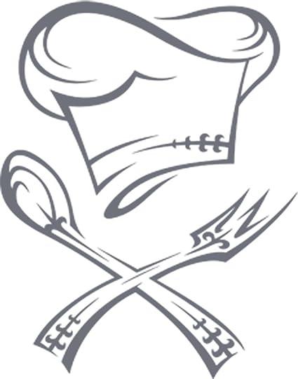 GRAZDesign Wandtattoos Küche Esszimmer Chefkoch - Aufkleber für Küche  Restaurant - Wandtattoo Küche Kochmütze / 51x40cm / 071 grau