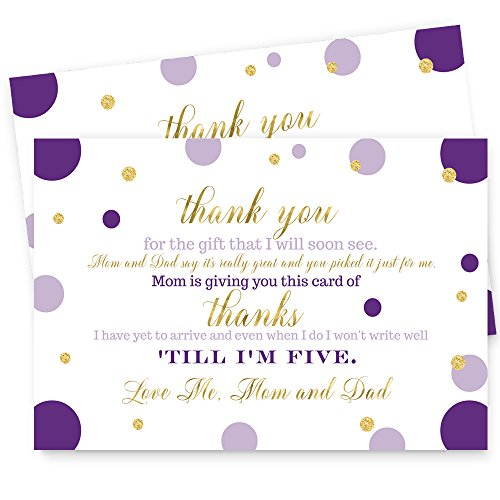 Purple and Gold Baby Shower Postcard Thank You - 15 Cards -