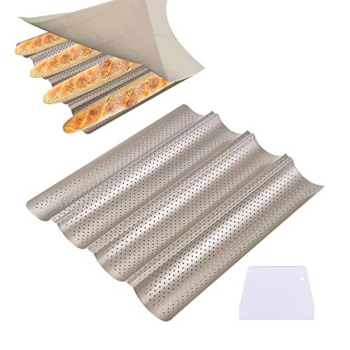 (Webake Baguette Pan 4 Wave French Bread Stick Baking Pan Nonstick Perforated Crisping Baking Tray 15 x 13 Inch for 4 Loaves Golden Carbon Steel Oven Pan with Dough Scraper)
