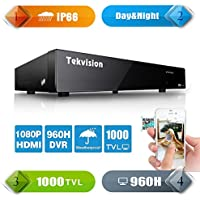 Tekvision 8CH CCTV Security Network Mobile 1000TVL 960H Motion Detection H.264 Digital Video Recorder QR code scan Remote access Real time monitoring- HDD Drive and Cameras not included