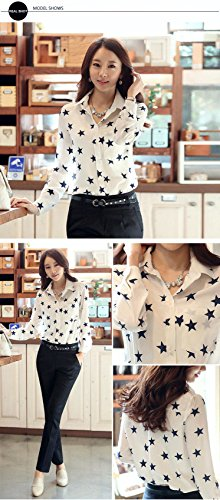 Esfeel Women's Spicy Girl Solid Loose Chiffon Shirt Blouse white X-large