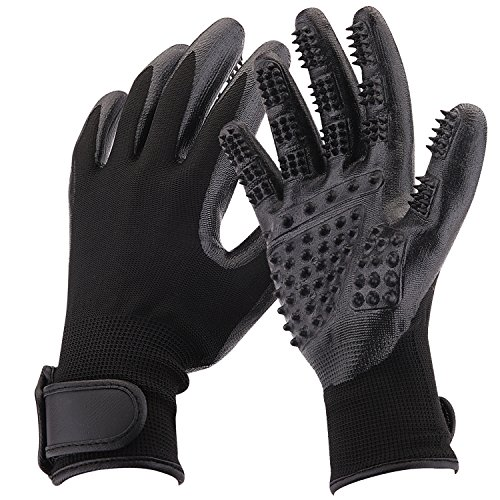 Pet Grooming Gloves, Shedding Brush, Combing and Massage, For Dogs, Horses, Cats, Rabbits, Cows, Other Pets and Livestock, Long & Short Fur, One Pair by CATHYLIFE