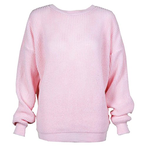 jumper oversized Womens Pink Ladies plus Baby knitted chunky knit sweater thick size baggy XqHw1Rq