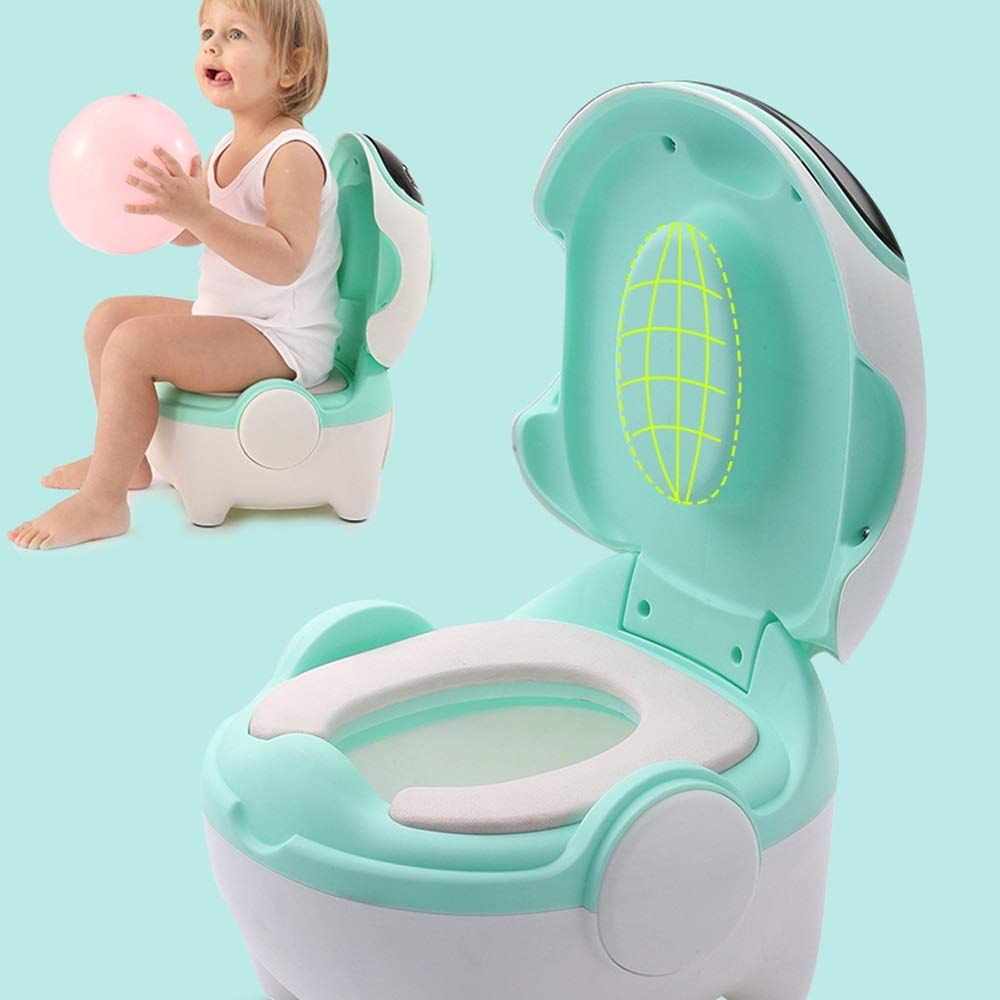 Color : Pink Three Colors Available Childrens Toilet CL- Childrens Potty Seat with A Seat Cushion Baby Toilet Seat Suitable for 1-6 Years Old Childrens Robot Toilet Trainer 30X32X28cm