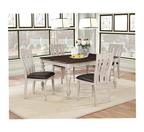(Wood & Style Furniture Weathered Oak Dining Set: Table with Extension Leaf, Four Chairs, Multi Home Office Commerial Heavy Duty Strong Décor)