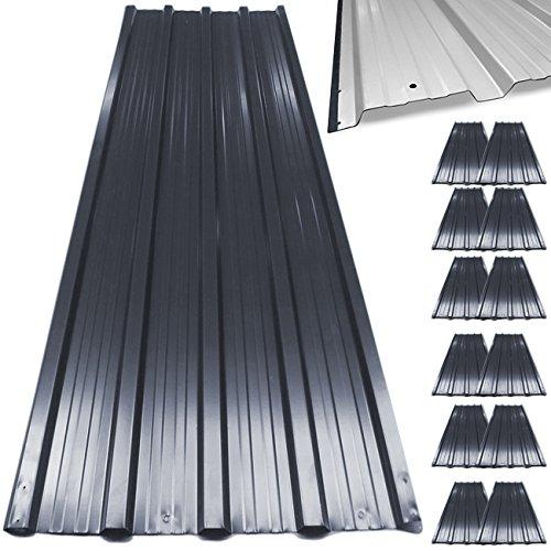 12 tôles profilées/ondulées 129cm x 45cm = 7m² mur toit abri de jardin Deuba