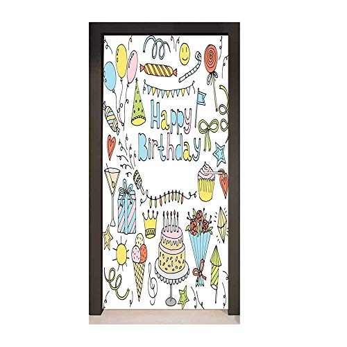 Kids Party 3D Door Decal Hand Drawn Style Collection Festive Celebration Objects Sweets Flowers Balloons Removable Vinyl Multicolor,W17.1xH78.7