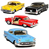 Set of 4: 1957 Chevy Bel Air Coupe 1:40 Scale (Black/Blue/Red/Yellow) by Kinsmart
