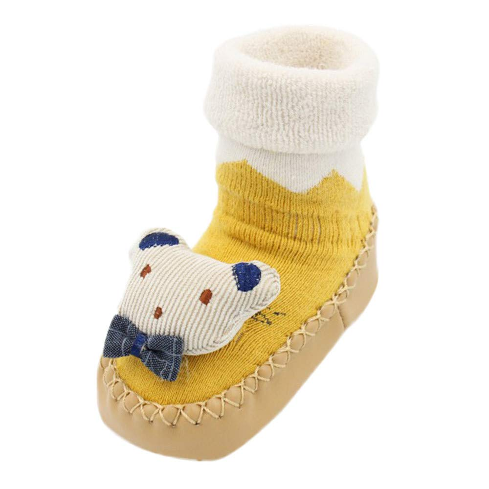 NUWFOR Newborn Baby Boys Girls Cartoon Rabbit Floor Socks Anti-Slip Baby Step Socks(Yellow,18M-24Months)