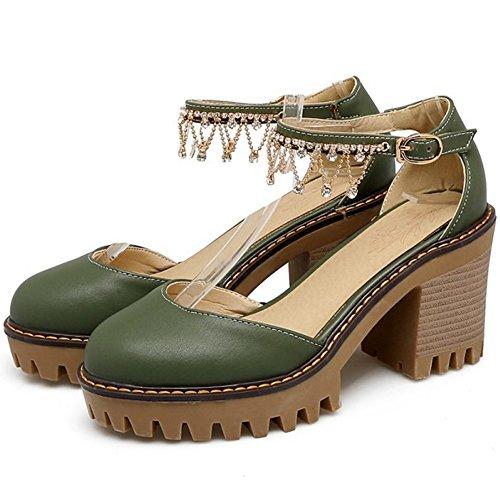 COOLCEPT Mujer Dulce Correa de Tobillo Sandalias Tacon Ancho Plataforma Cerrado Zapatos Tamano Verde