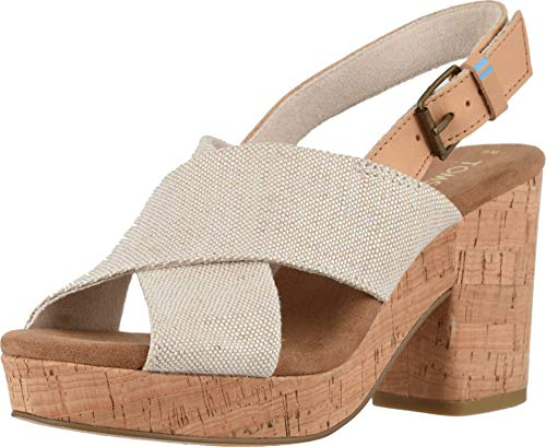 TOMS Women's Ibiza Multi Pearlized Metallic Woven/Honey Leather 7 B US ()