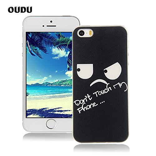 OuDu Silicone Case for iPhone 5/5S Soft TPU Rubber Cover Flexible Slim Case Smooth Lightweight Skin Ultra Thin Shell Creative Design Cover - Don't Touch My (Pretty Cartoon Girls)