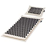 ProsourceFit Ki Acupressure Mat and Pillow Set with 100% Natural Linen for Back/Neck Pain Relief and Muscle Relaxation, Onyx Gold