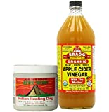 Aztec Secret Indian Healing Clay Deep Pore Cleansing and Bragg Apple Cider Vinegar Organic Raw 32 Oz Btl Bundle By AIVA