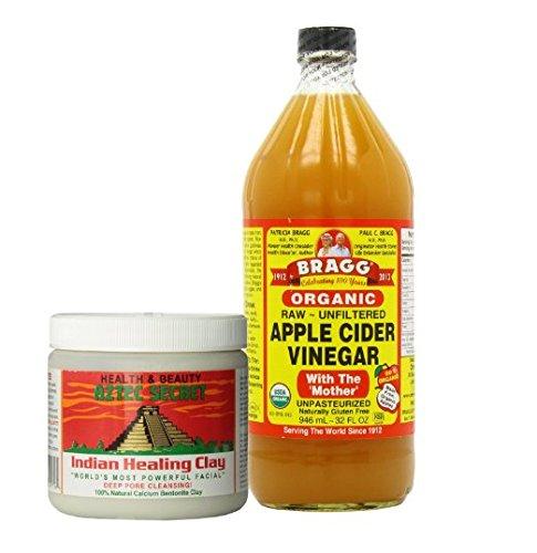 Aztec Secret Indian Healing Clay Deep Pore Cleansing and Bragg Apple Cider Vinegar Organic Raw Bundle Bragg 32 oz Liquid by Bragg