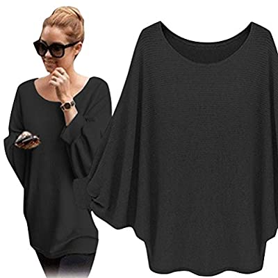 Ezcosplay Women's Baggy Batwing Knitted Shirt Pullover Blouse Fall Tops