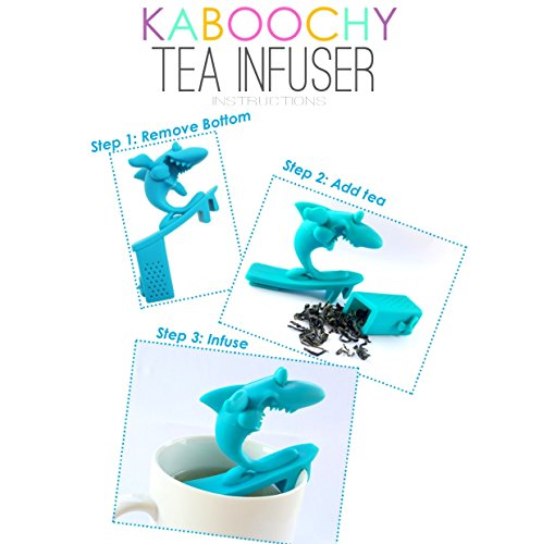 UnderWater World 5 Pack Silicone Tea Infusers, Reusable Cute Loose Leaf Tea Diffuser Strainer Gift Pack. Includes Fish, Seahorse, Swan, Shark & Surfing Shark by KABOOCHY by KABOOCHY (Image #3)
