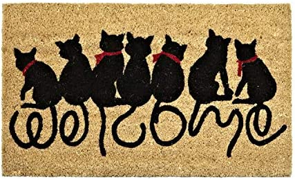Abbott Collection 35-PFW an 1357 Tail Doormat-18X30 L, Welcome Cats
