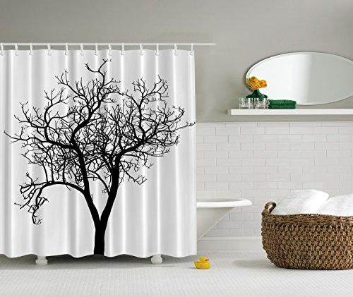 Ambesonne Lonely Tree Black and White Fall Winter Branches Minimal Decorations Art Decor Design Digital Print Polyester Fabric Shower Curtain
