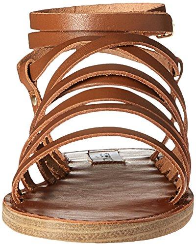 Steve Madden Womens galea Flat Sandal Cognac Leather