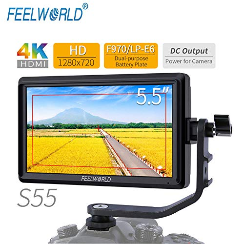 FEELWORLD S55 5.5 inch IPS in Field DSLR Camera Focus Monitor Assist Support 1280×720 HDMI 4K Input DC Output Include arm inclination