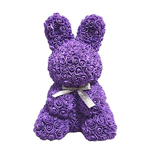 (Rose Bear - Artificial Rose Rabbit Bear Cub, Forever Rose Everlasting Flower for Window Display, Anniversary Christmas Valentines Gift by Longshow)
