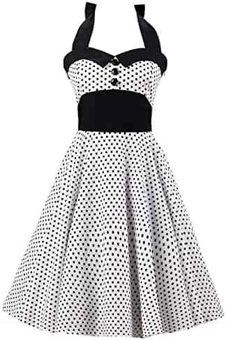 09b850f3f80d Tecrio Women Retro 50s 60s Rockabilly Halter Polka Dots Floral Party Swing  Dress