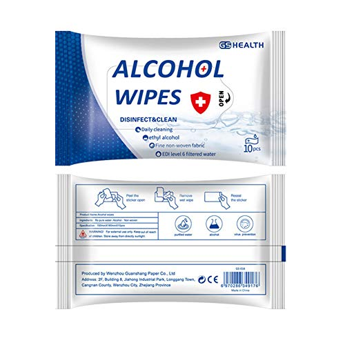 Portable Disinfection Wipes Moist Wipes with 75% Alcohol for Deep Cleaning Hands, Tables, Chairs, Toys, doorknobs and…