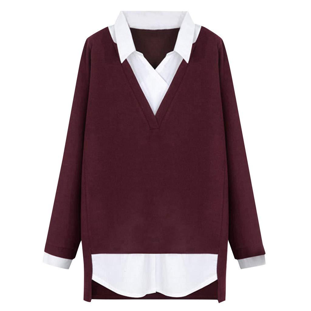 FRAUIT Damen Revers Pullover Sweater Pulli Zwei St/ücke Bluse Pullover Langarm Casual Elegant V-Ausschnitt Pullover Sweatshirt Oversize Loose Mode Streetwear Bussiness Casual Kleidung Bluse Top