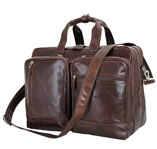 Berchirly Vintage Genuine Leather Office Briefcase Totes Expandable Business Handbag Shoulder Bag for 16inch Laptop by Berchirly