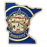PinMart's State Shape of Minnesota and Minnesota Flag Lapel Pin