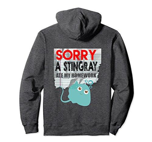 Stingray Animal Costume (Unisex Funny Sorry Stingray Ate My Homework Hoodie Funny Animals 2XL Dark Heather)