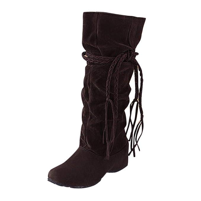 POLP Botas Mujer Invierno Botines y Botas Altas Mujer Botas Altas cuña Botas Altas Mujer Botas de cuña Botines Altos Zapatos Mujer para Lluvia Botas Mujer ...