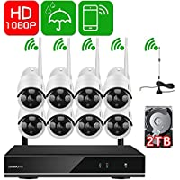 [1080P HD Auto-Pair Wireless] ONWOTE 8 Channel 1080P Outdoor Wireless Security Camera System with 2TB Hard Drive and 8 HD Night Vision 2.0 MP WiFi IP Surveillance Cameras