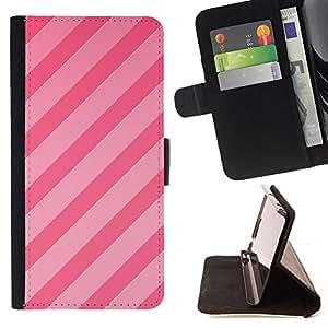 - Queen Pattern FOR Sony Xperia Z2 D6502 /La identificaci????n del cr????dito ranuras para tarjetas tir????n de la caja Cartera de cuero cubie - candy pink lines parallel pattern