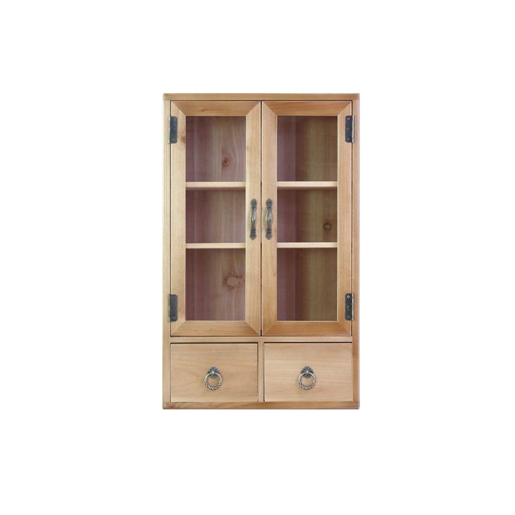 Solid Wood Storage Shelf File Cabinet Small Furniture Side Cabinet Small Book Cabinet 40x24x64cm (Color : B) by QSJY File Cabinets