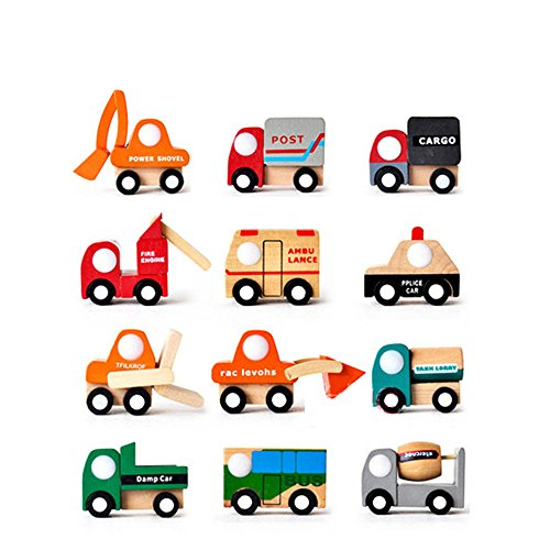 Set of 12 Wooden Mini Vehicle Cars Truck Ambulance police car bus Models Wheel toy push along toys