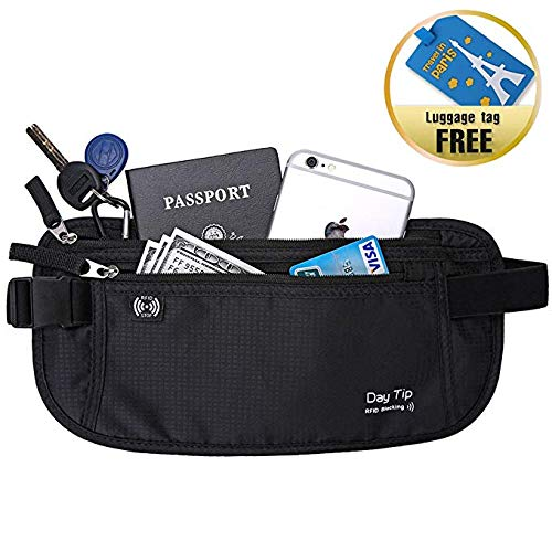 Day Tip Money Belt - Passport Holder Secure Hidden Travel Wallet with RFID Blocking, Undercover Fanny Pack