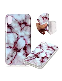 """Marble Patterns Design Cover for iPhone XS Max 6.5"""", MOIKY Slim Soft Skin Touch Protective in TPU Bumper Gel Case Anti-Scratch Shock Resistant Shell for iPhone XS Max 6.5"""" - Red texture"""