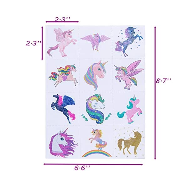 Funnlot Unicorn Temporary Tattoos for Kids Girls Birthday Party Supplies Set of 24 Waterproof Glitter Stickers (24) 5