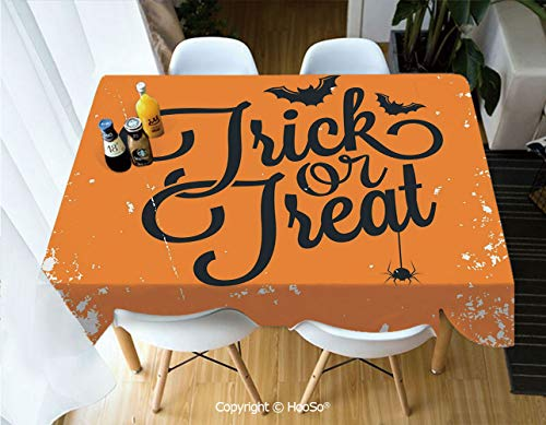HooSo Fabric Rectangular Table Cloth, Washable Table Cover Perfect for Christmas, Thanks Giving, Dinner Parties, BBQ and Everyday Use,Vintage Halloween,Trick or Treat Halloween Theme,53