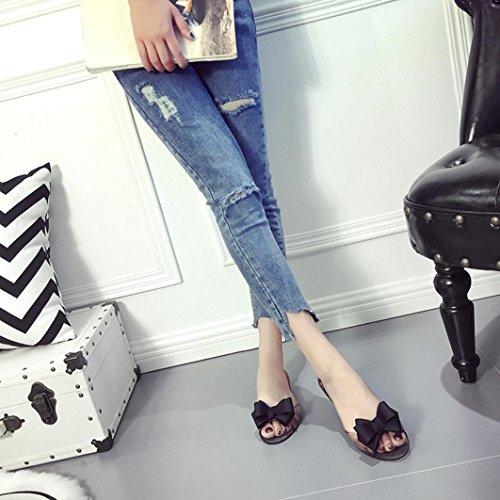 Fheaven Sandaler För Kvinnor - Kvinnor Lägenheter Transparent Sandaler Peep-toe Icke Slip Platt Bowknot Skor Stranden Skor Svarta